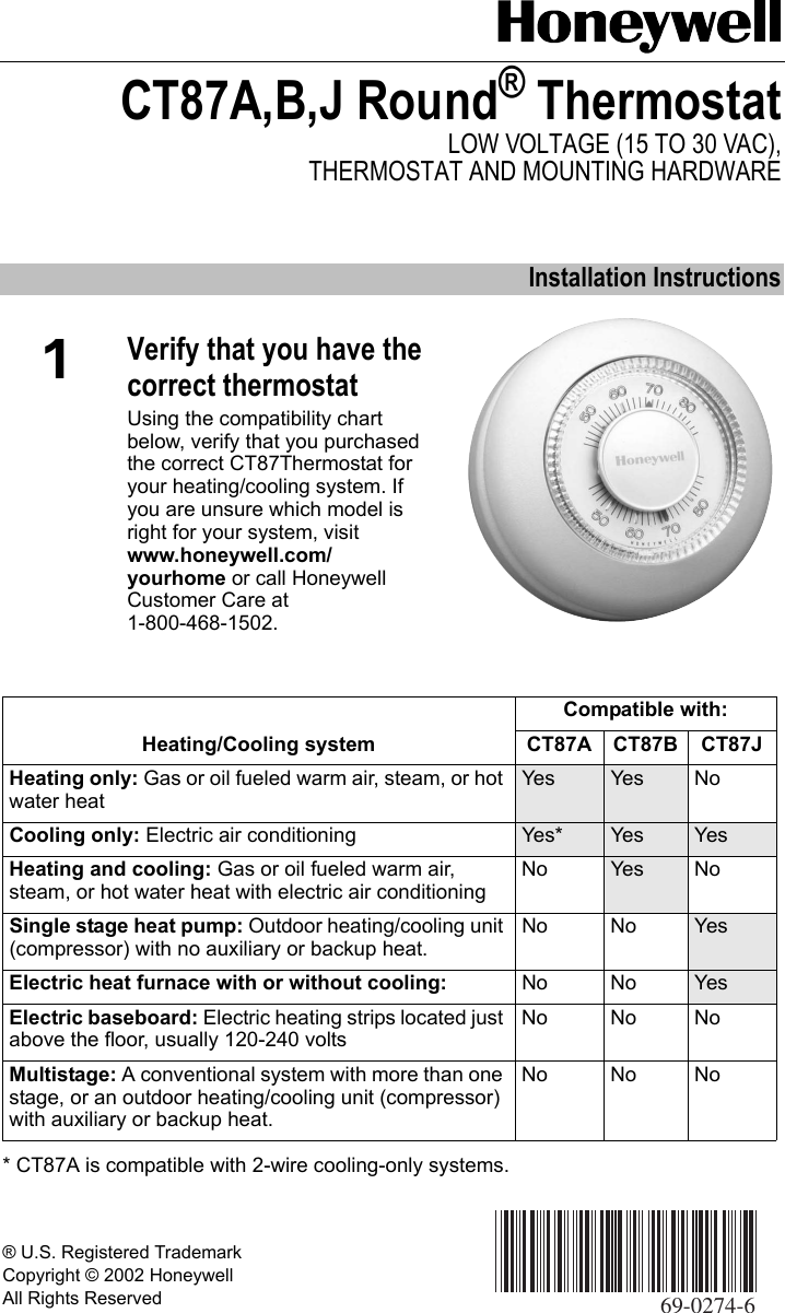 Honeywell Thermostat Ct87A Users Manual 69 0274 CT87A,B,J Round