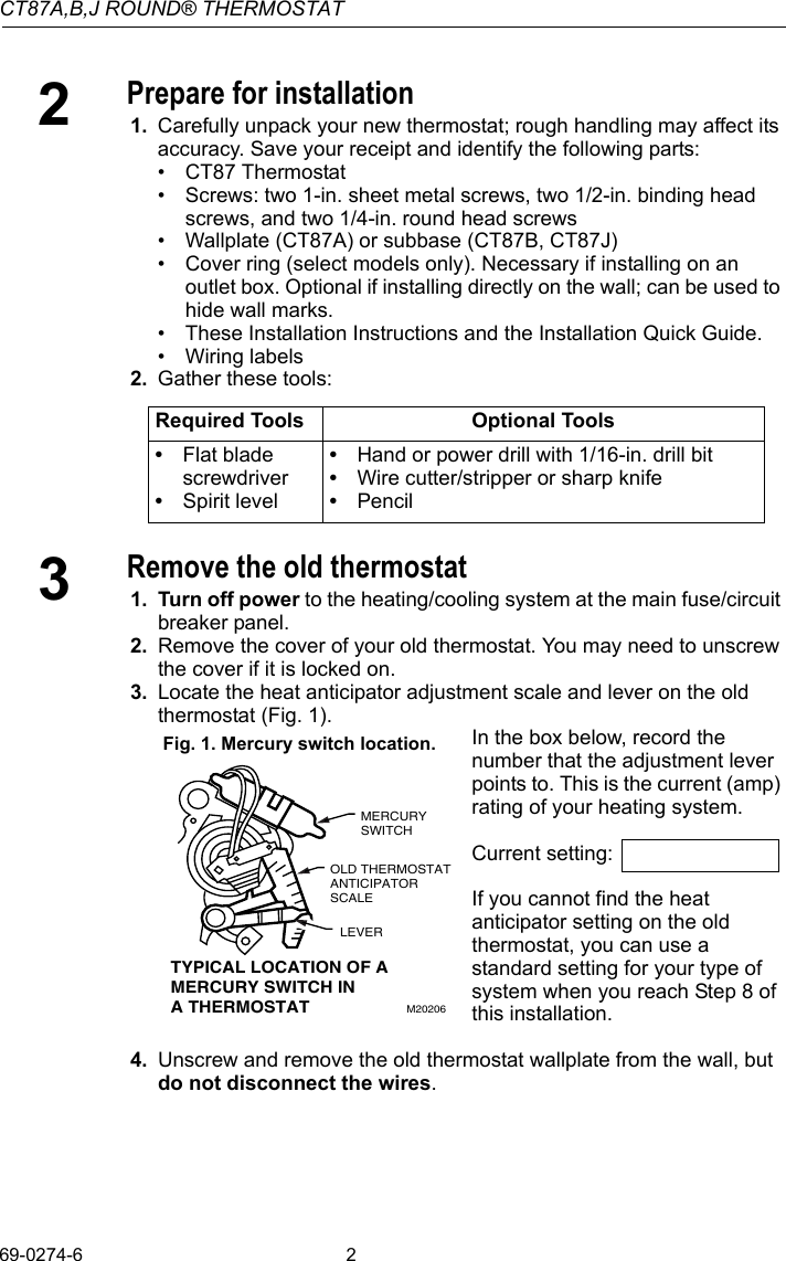 Honeywell Thermostat Ct87a Users Manual 69 0274 Ct87abj Round Wiring 6 Wire Page 2 Of 12