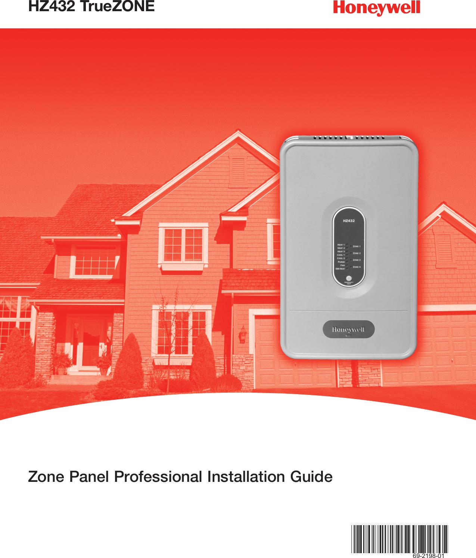 Honeywell Thermostat Hz432 Users Manual 69 2198 01 TrueZONE Zone ...