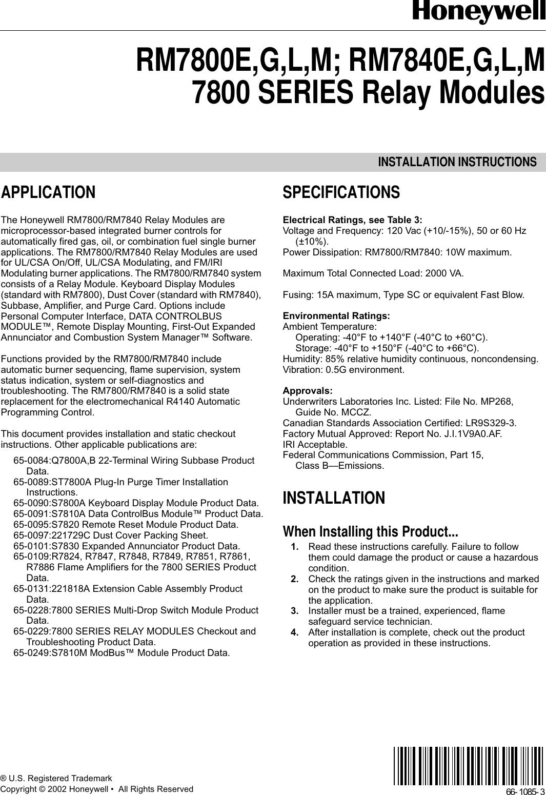 honeywell thermostat rm7800eglm rm7840eglm users manual 66 1085 rh  usermanual wiki