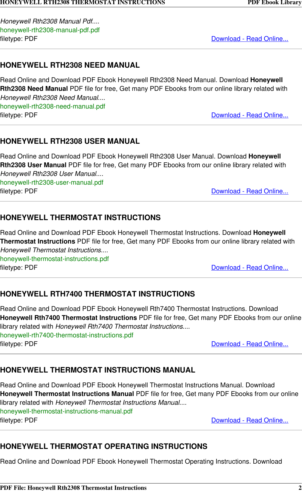 Honeywell Thermostat Rth2308 Users Manual Instructions Heat Pump Daily Instruction Page 2 Of 4