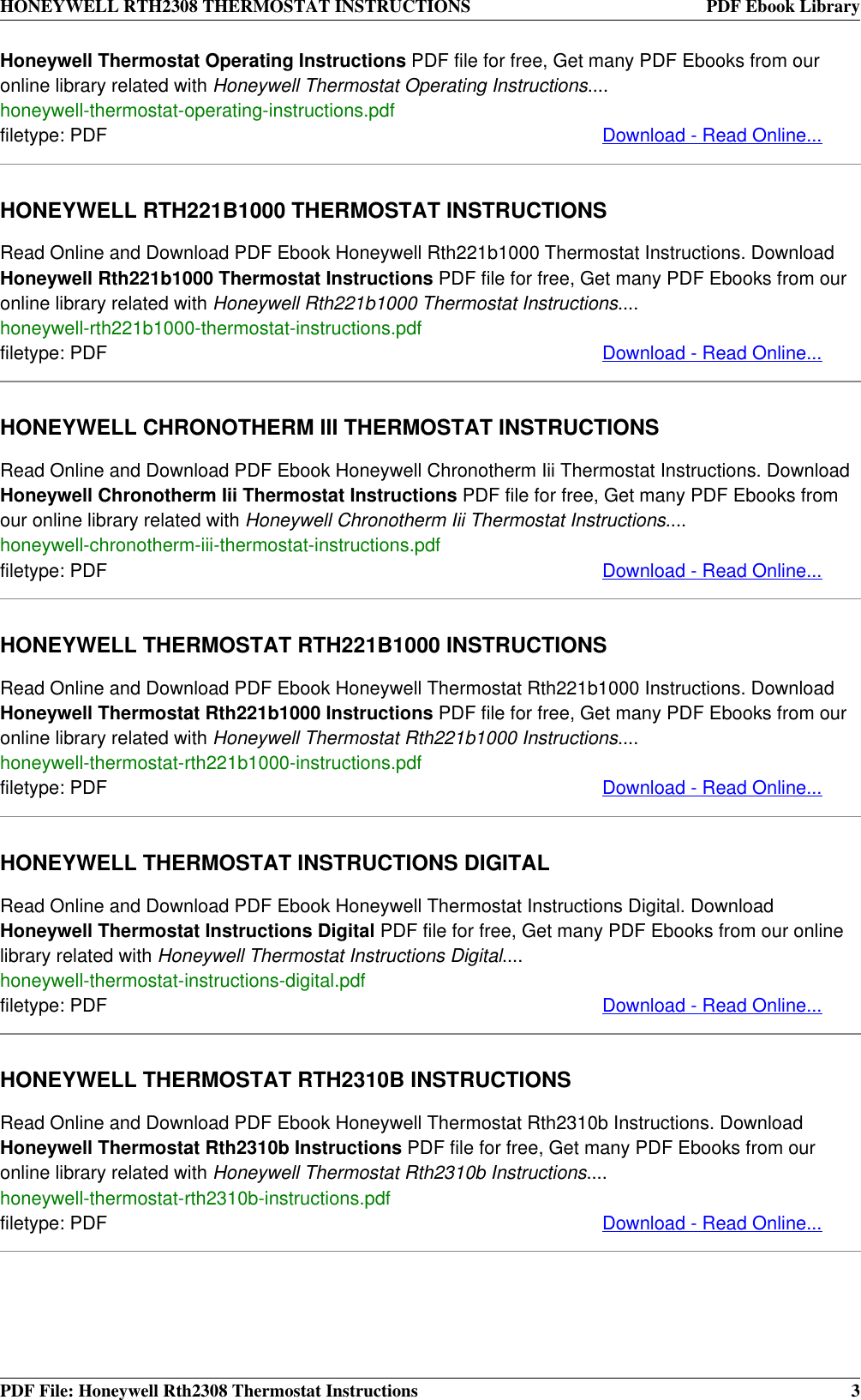 Honeywell Thermostat Rth2308 Users Manual Instructions Rth2300 Product User Guide Instruction Page 3 Of 4