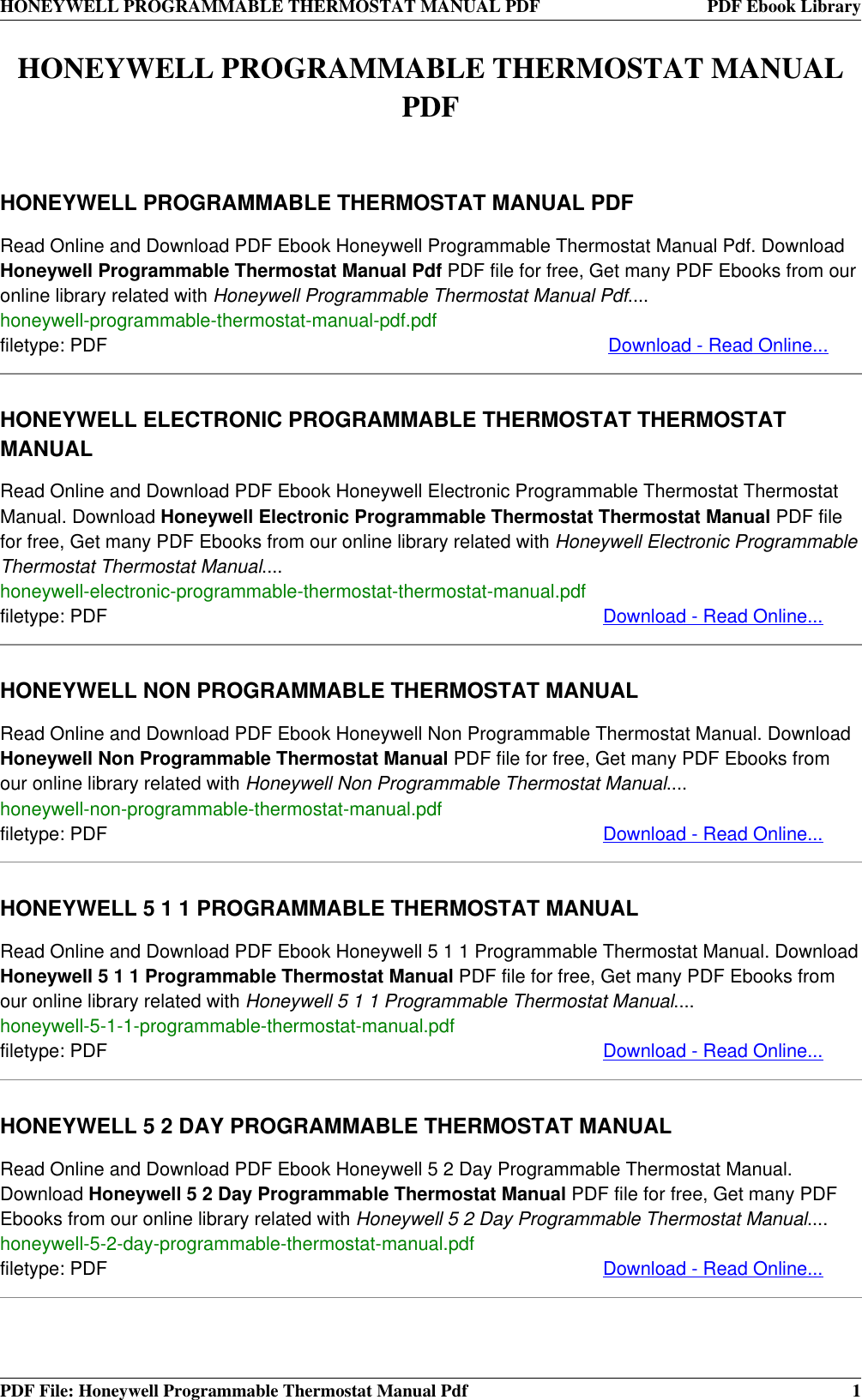 Honeywell Thermostat Rth230b Rth2510b Users Manual Programmable Pdf Rth7500d1007