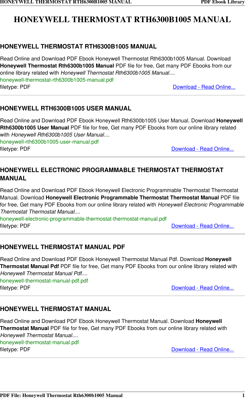 Honeywell Thermostat Rth6300b1005 Users Manual Rth221b Basic Programmable Wiring Diagram Car