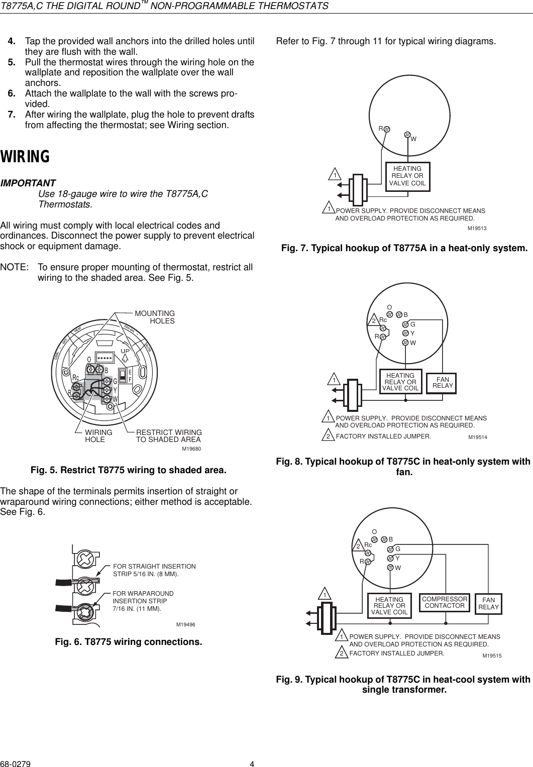 Honeywell Thermostat T8775a Users Manual 68 0279 Typical Wiring Page 4 Of 8