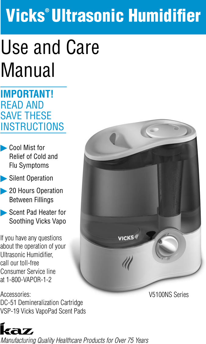 Vicks starry night humidifier operating manual   manualzz.
