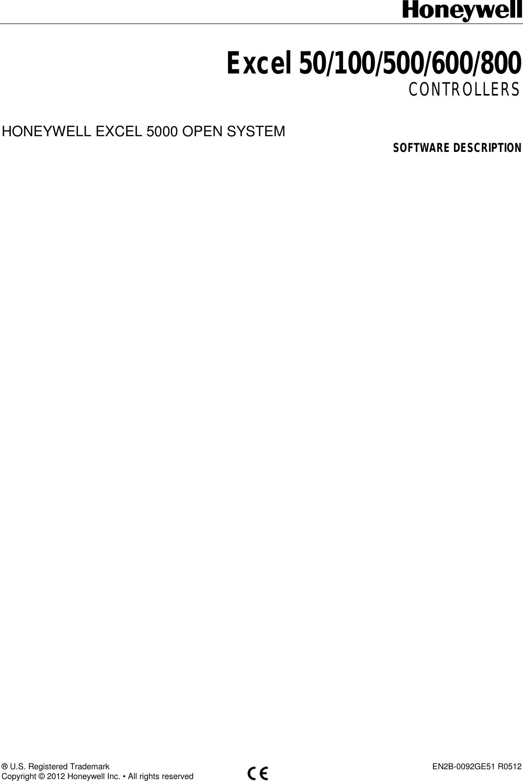Honeywell Video Game Controller R0512 Users Manual XL50 XL100 XL500