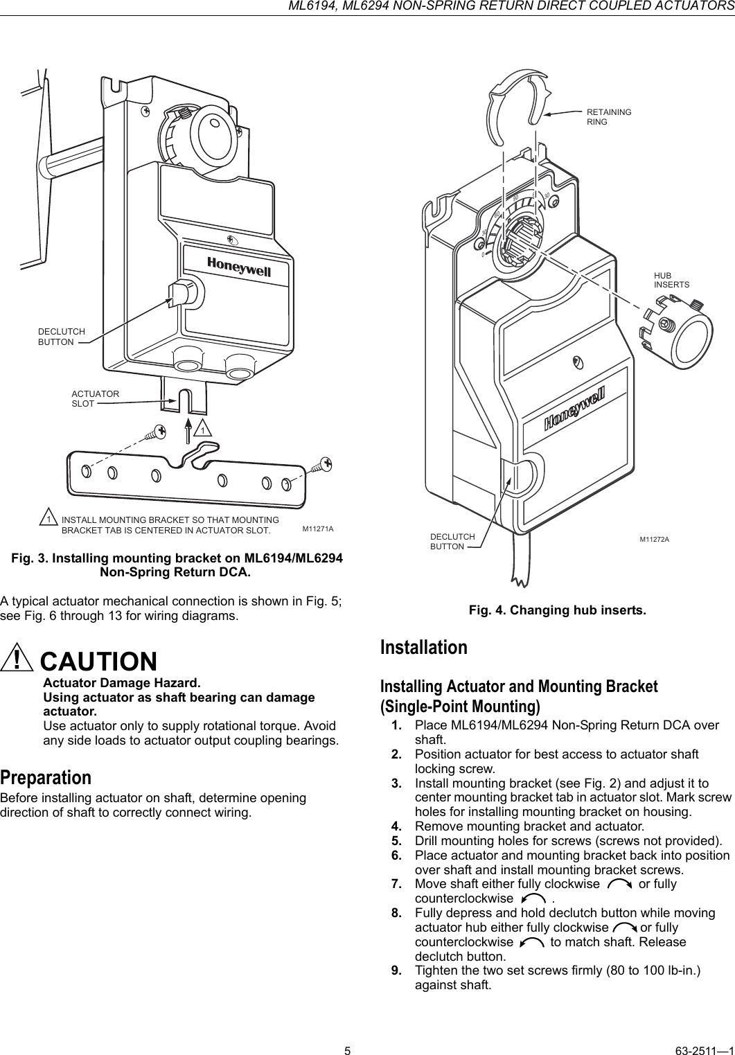 Honeywell Ml6194 Users Manual 63 2511 Ml6294 Non Spring. Page 5 Of 8 Honeywell Honeywellml6194usersmanual 63. Wiring. Honeywell Direct Coupled Actuator Wiring Diagram At Scoala.co