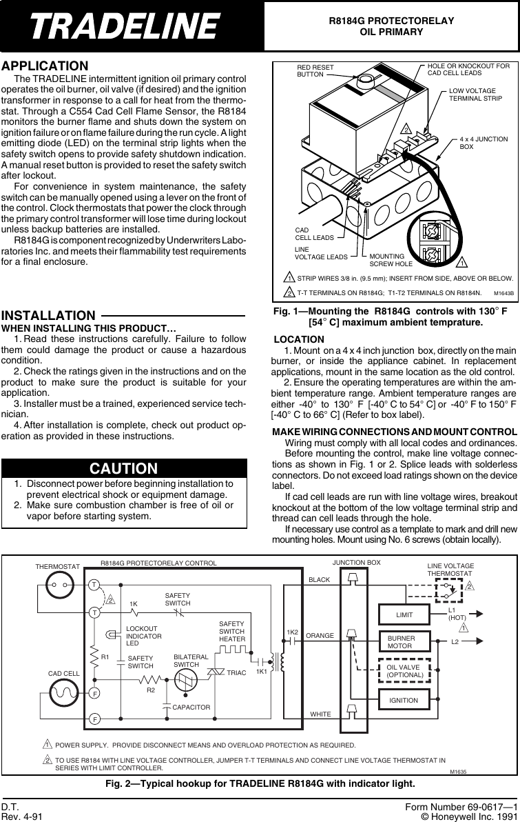 Honeywell Protectorelay R8184g Users Manual 69 0617 Oil Primary Cad Cell Relay Wiring Diagram