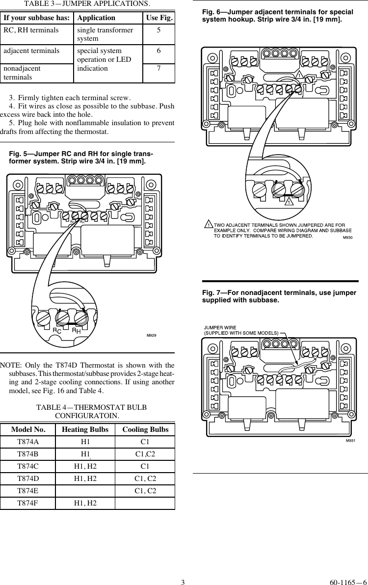 Honeywell Q674a E Users Manual 60 1165 T874a F Multistage How To Hook Up A Thermostat Page 3 Of 12