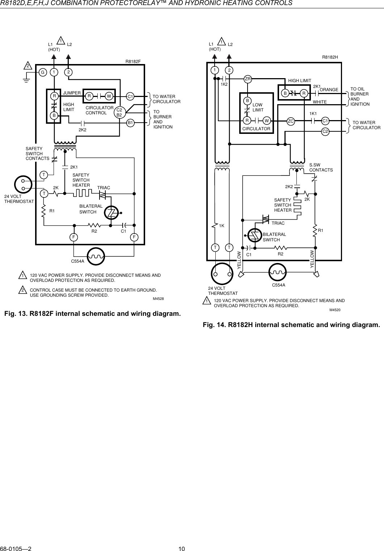 honeywell r8182d users manual 68 0105 r8182d,e,f,h,j combinationHoneywell R8182d Wiring Diagram #9