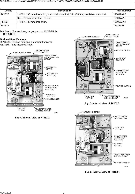 honeywell r8182d users manual 68 0105 r8182d,e,f,h,j combinationHoneywell R8182d Wiring Diagram #3