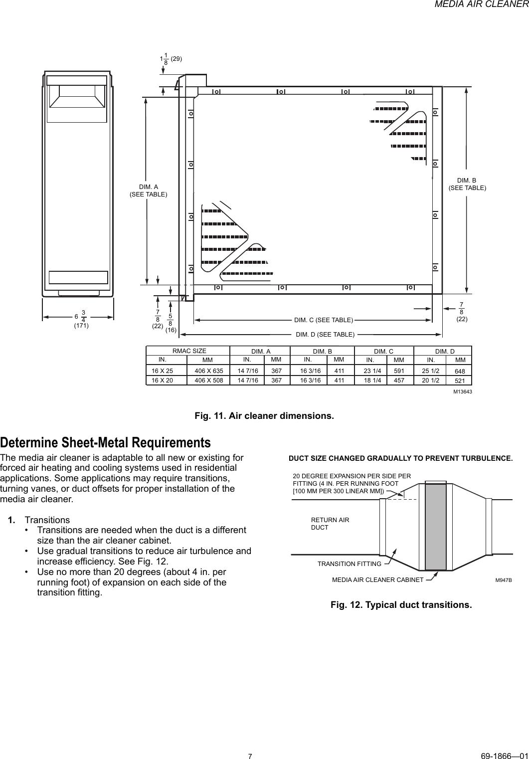 Honeywell Rmac1625 Installation Information 69 1866_A Media Air Cleaner