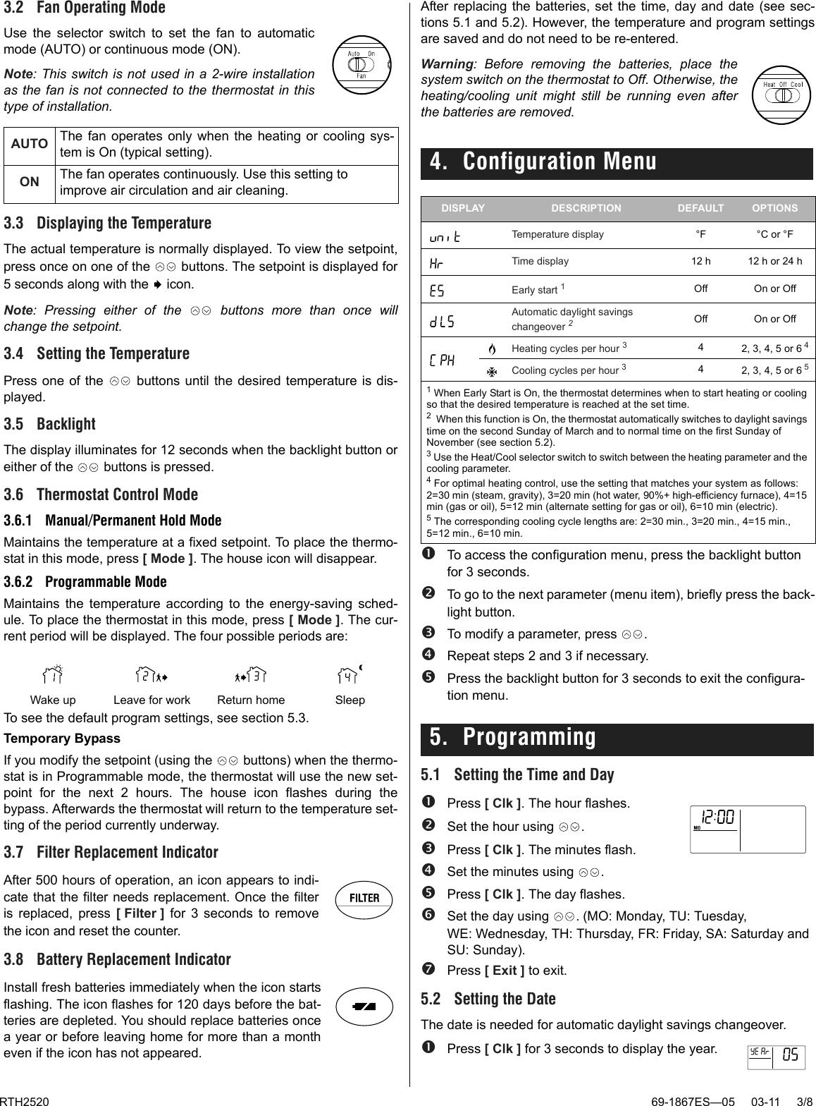 honeywell rth2520b user guide 69 1867es 05 rth2520 programmable rh usermanual wiki Honeywell Security Keypad Honeywell Thermostat Programming Manual