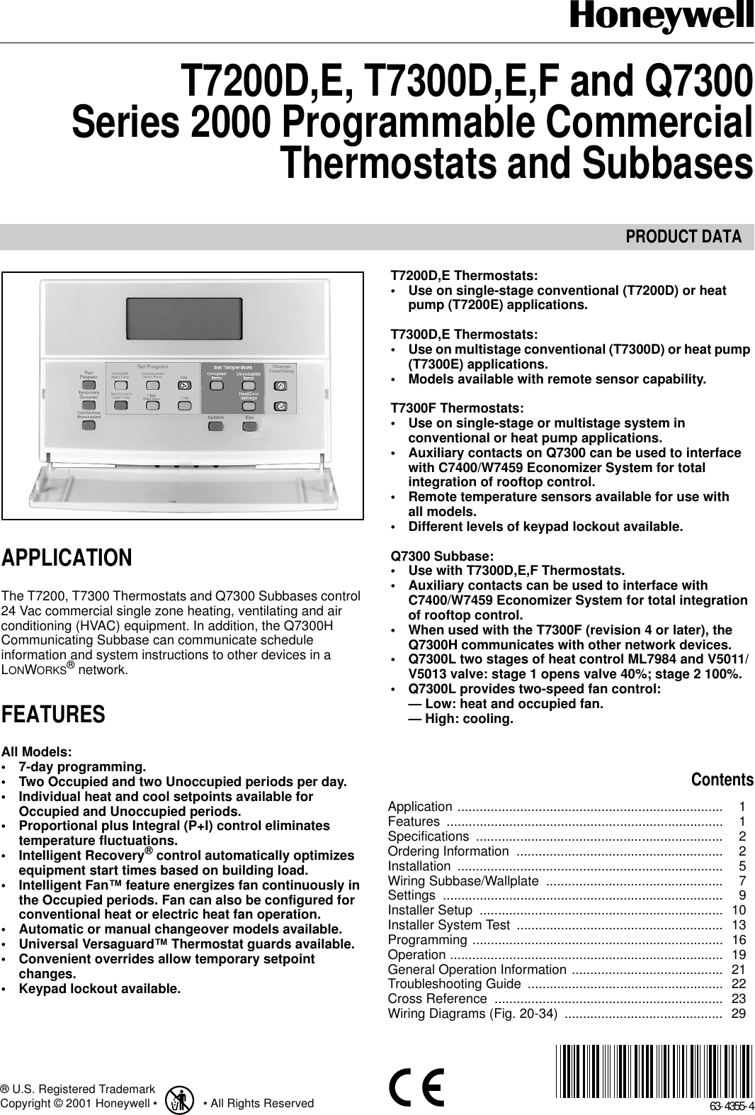 Honeywell Series 2000 T7300d Users Manual T7200d E  T7300d
