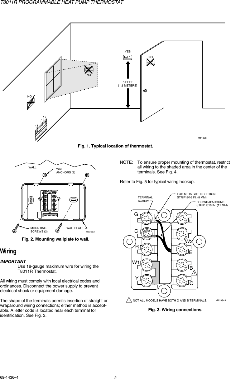 Honeywell T8011r Users Manual 69 1436 Programmable Heat Pump Thermostat 6 Wire Diagram Page 2 Of