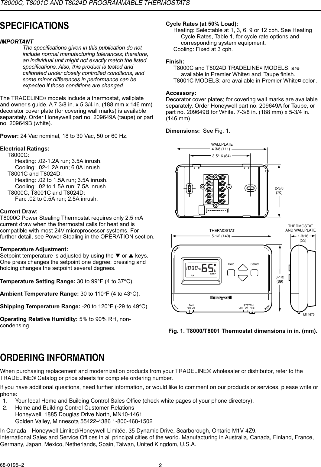 Wiring Diagram For Honeywell Dt92e : Honeywell thermostat t c manual
