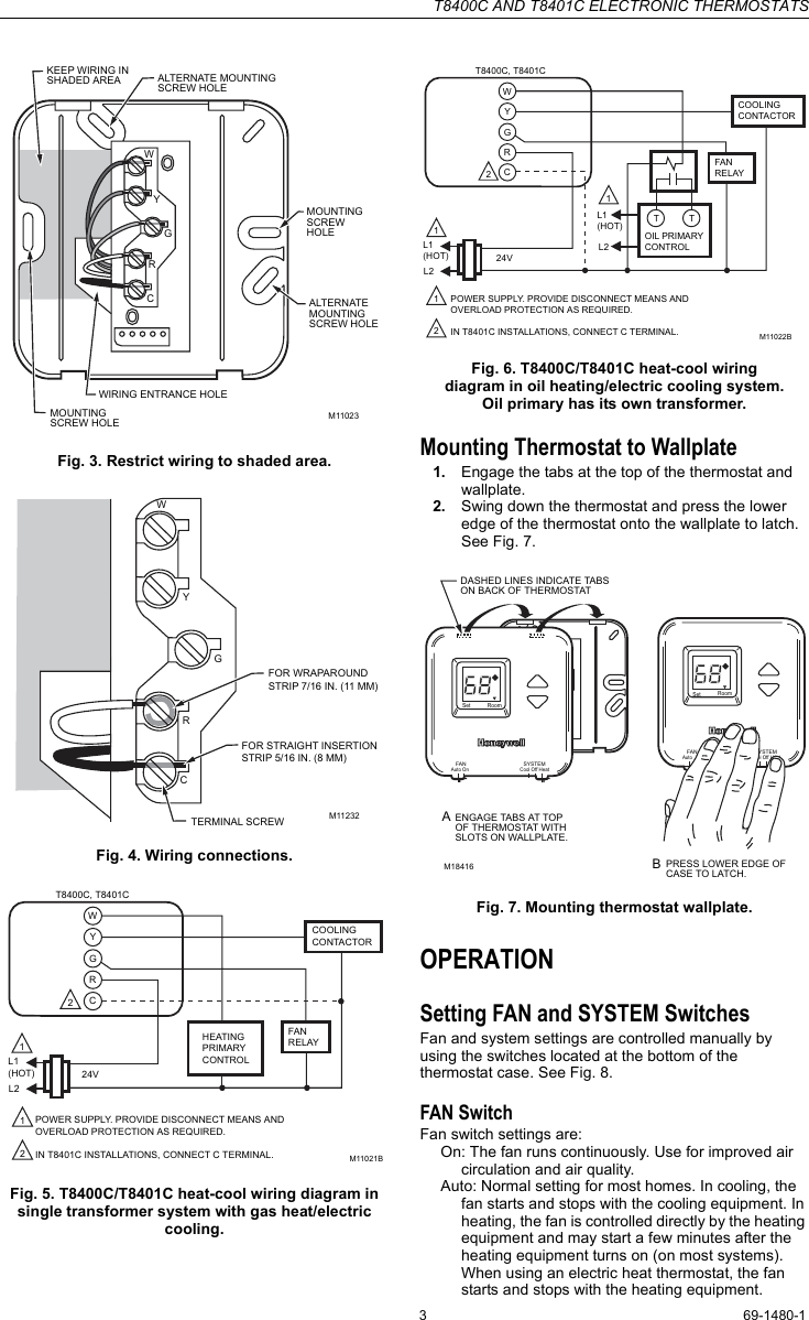 Honeywell T8400c Users Manual 69 1480 And T8401c Electronic Thermostats Wiring Diagram Dashed Line Page 3 Of 6