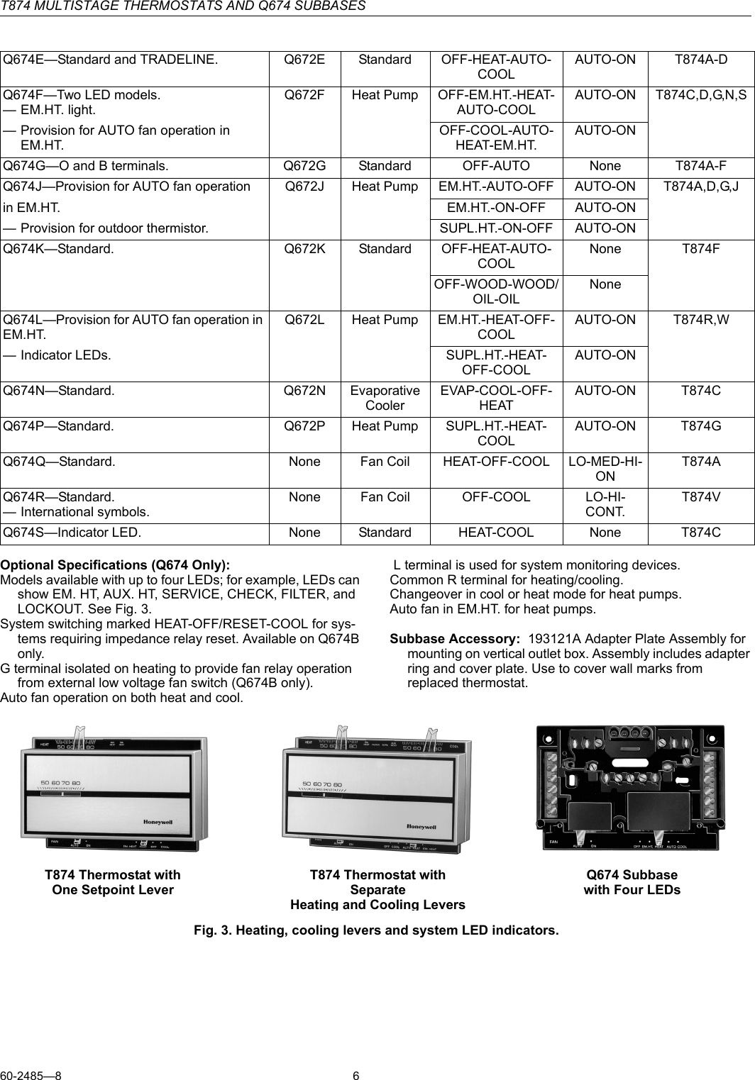 Honeywell T874 Users Manual 60 2485 Multistage Thermostats And Q674