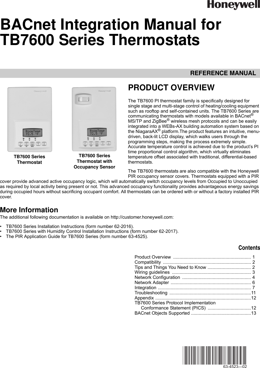 Honeywell Tb7600 Users Manual 63 4523—02 BACnet Integration For ...