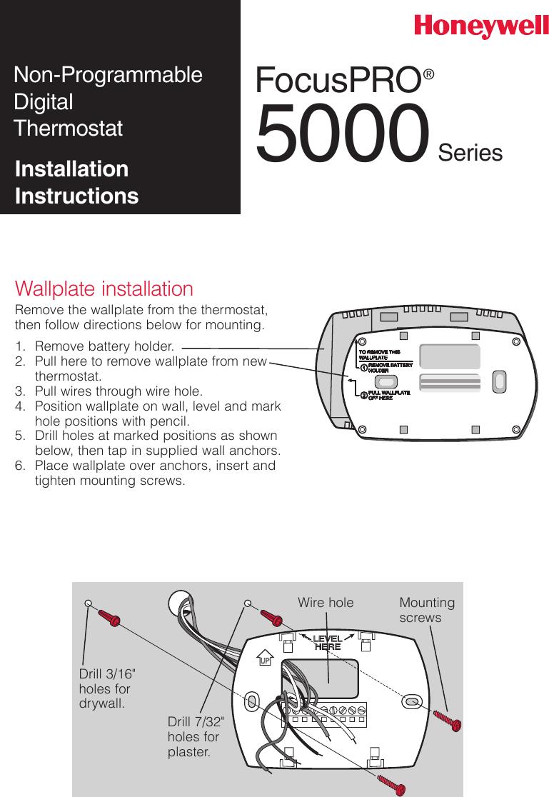 Honeywell Th5110 Installation Instructions 69 2698EFS 03 FocusPRO® TH5000  Series
