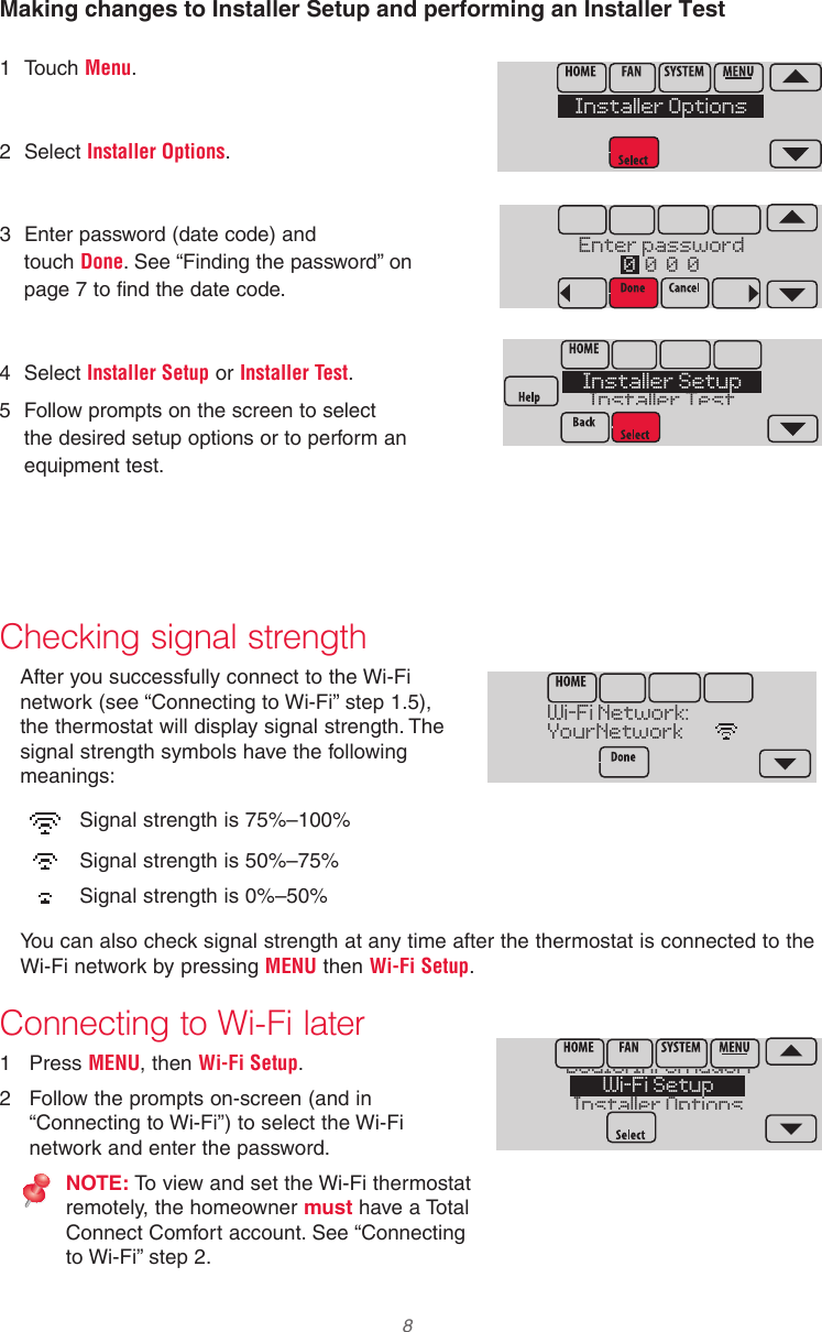 Honeywell Th8321wf1001 Installation Guide 33 00065 01 Wi Fi Wiring A Wifi Thermostat Page 8 Of 12