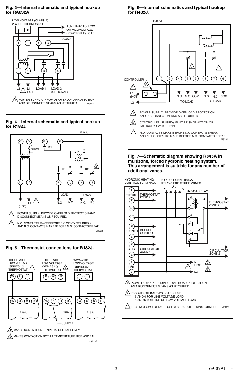 Honeywell Tradeline R182j Users Manual 69 0791 R482j R845a Ra832a Wiring Diagram Page 3 Of 4