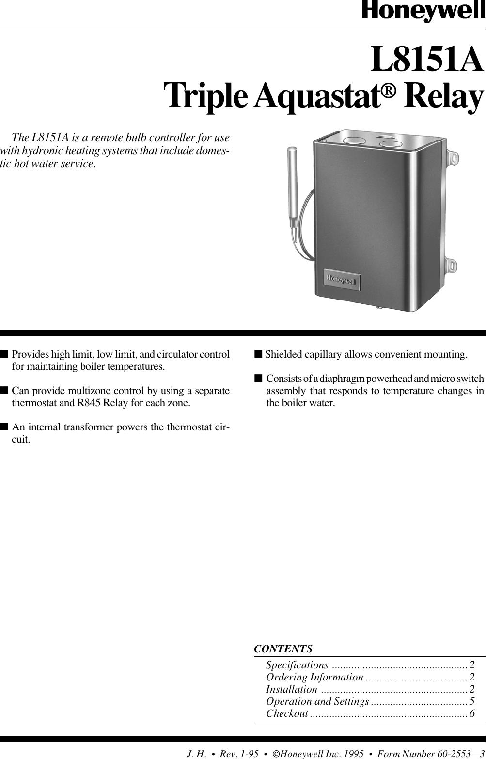 Honeywell Tripleaquastat L8151a Users Manual 60 2553 Triple Aquastat Zc Wiring Harness Relay
