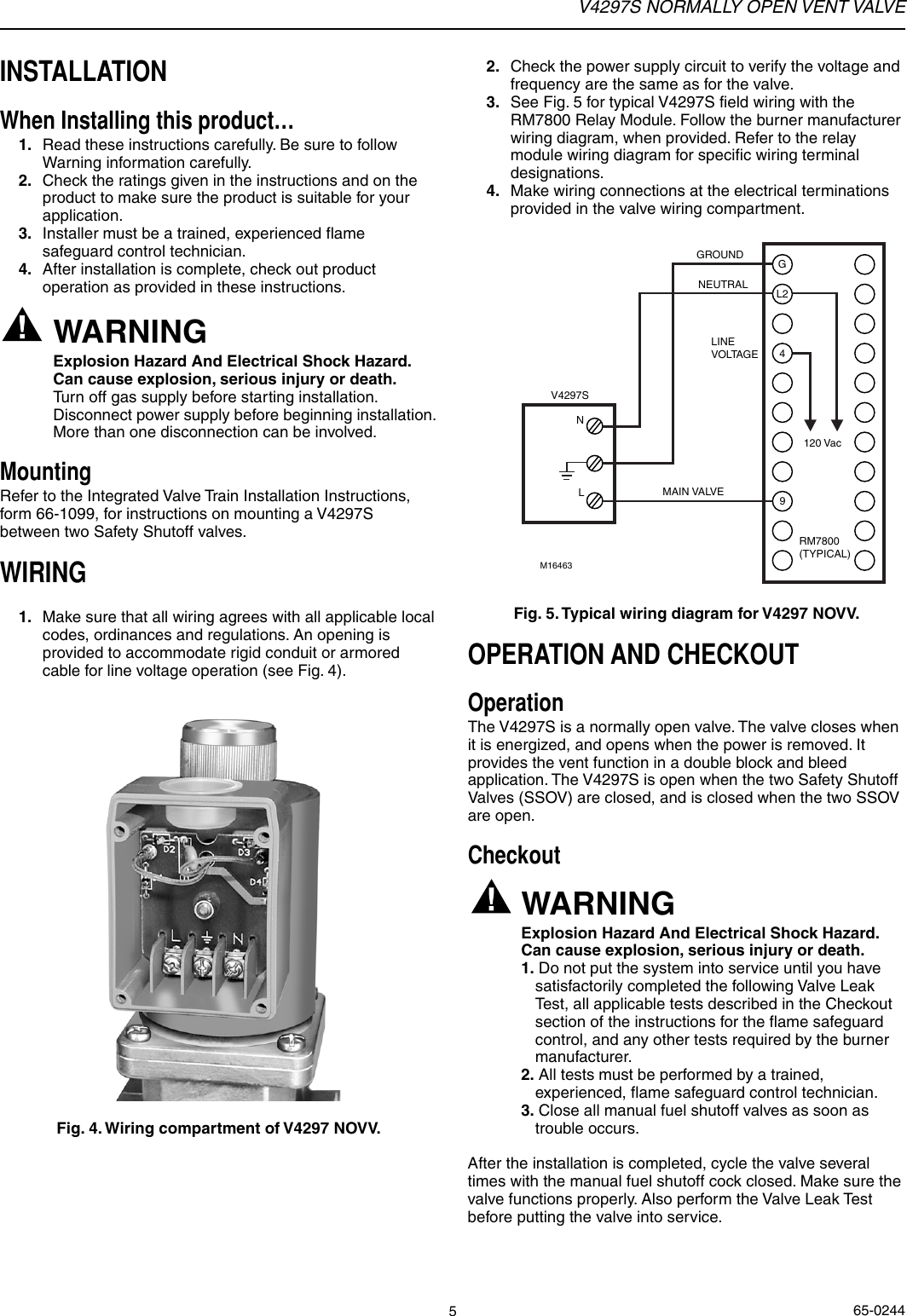 Honeywell Vent Valve V4297s Users Manual 65 0244 Normally Open Rm7800 Wiring Diagram Page 5 Of 8
