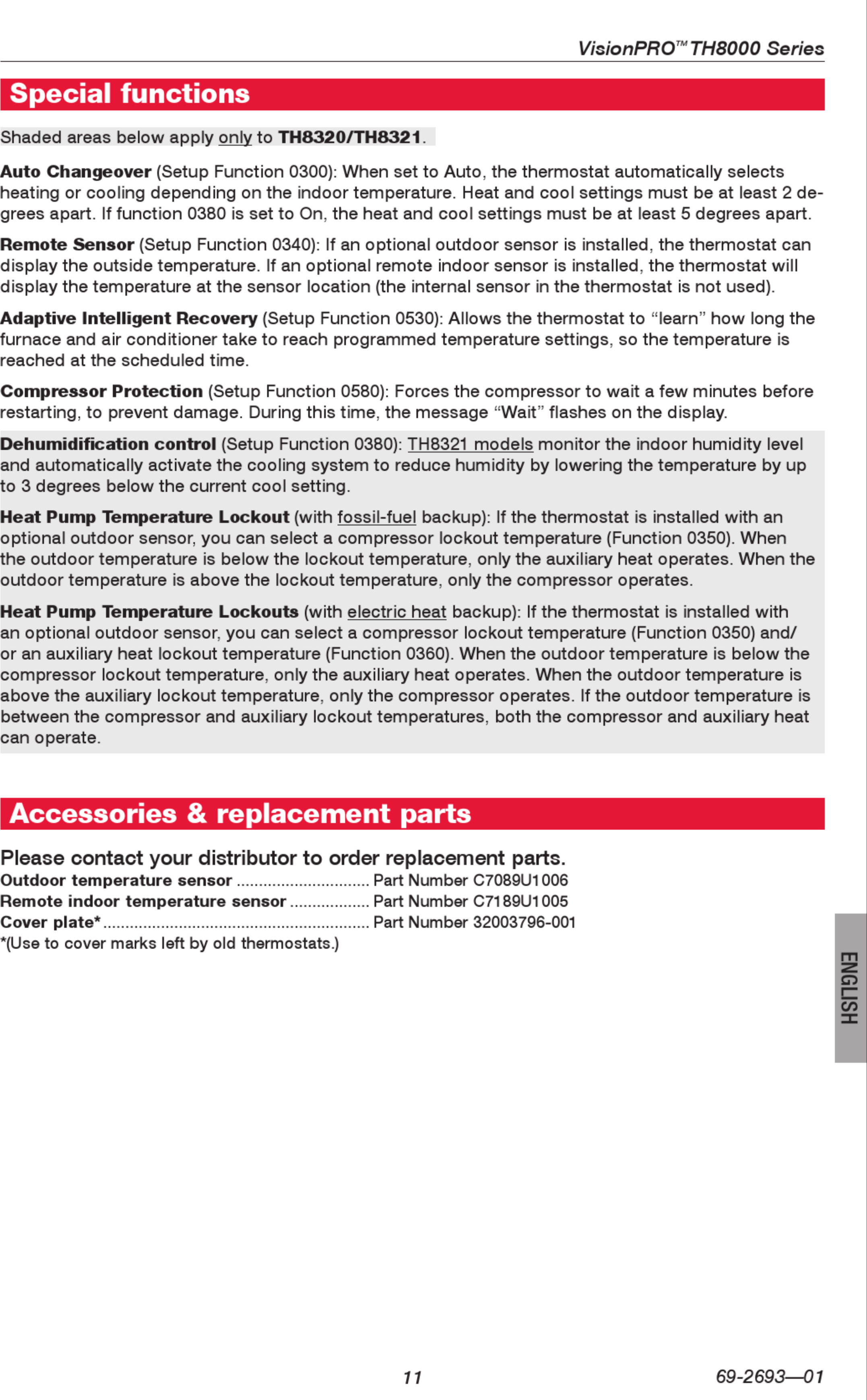 Honeywell Visionpro Th8000 Series Installation Manual 1003127 User Wiring Diagram Page 11 Of 12