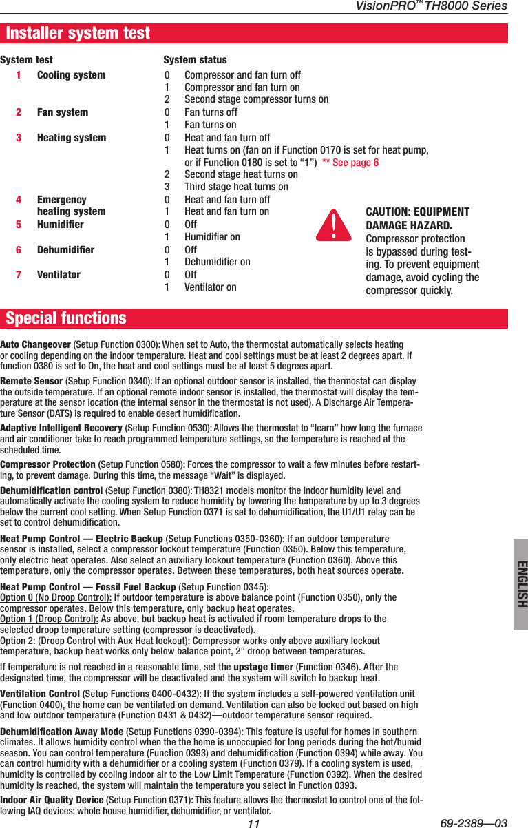 Honeywell Visionpro Touch Screen Programmable Th8000 Users Manual 69 Wiring Diagram Page 11 Of 12