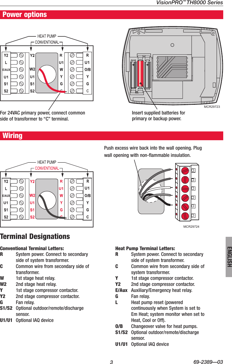 Honeywell Visionpro Touch Screen Programmable Th8000 Users Manual 69 Common Terminal In Relay Page 3 Of 12