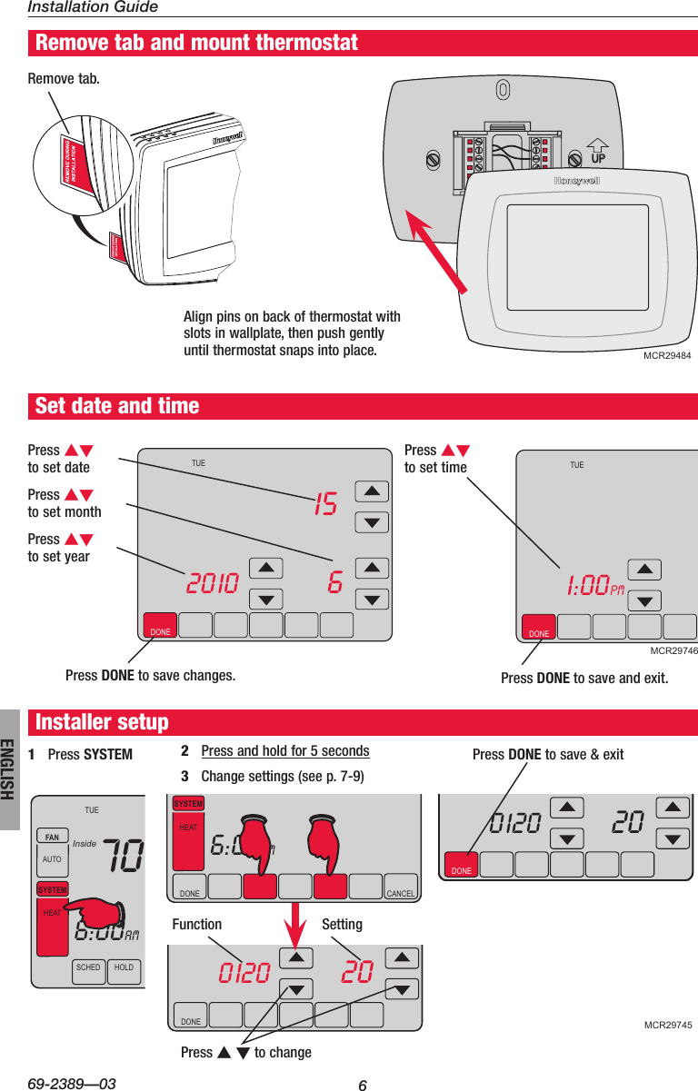 Honeywell Visionpro Touch Screen Programmable Th8000 Users Manual 69 Wiring Diagram Page 6 Of 12