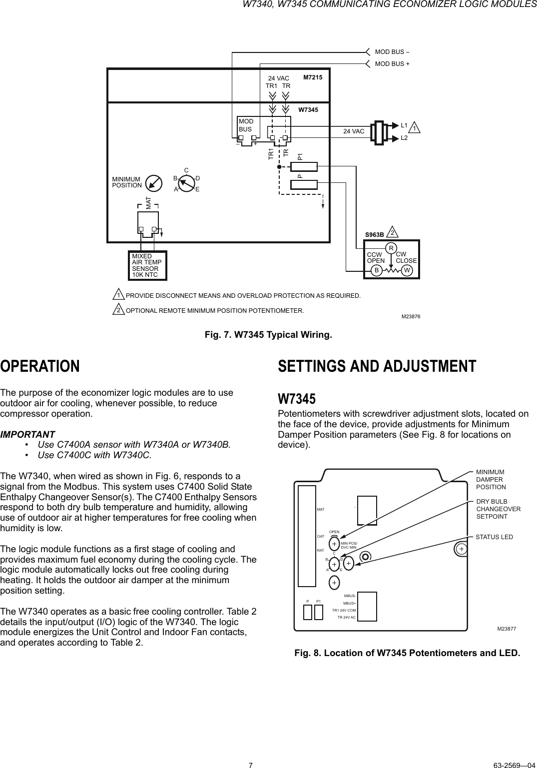 Honeywell W7340 Users Manual 63 2569 4 W7345 Communicating Wiring Potentiometer To Led Page 7 Of 12