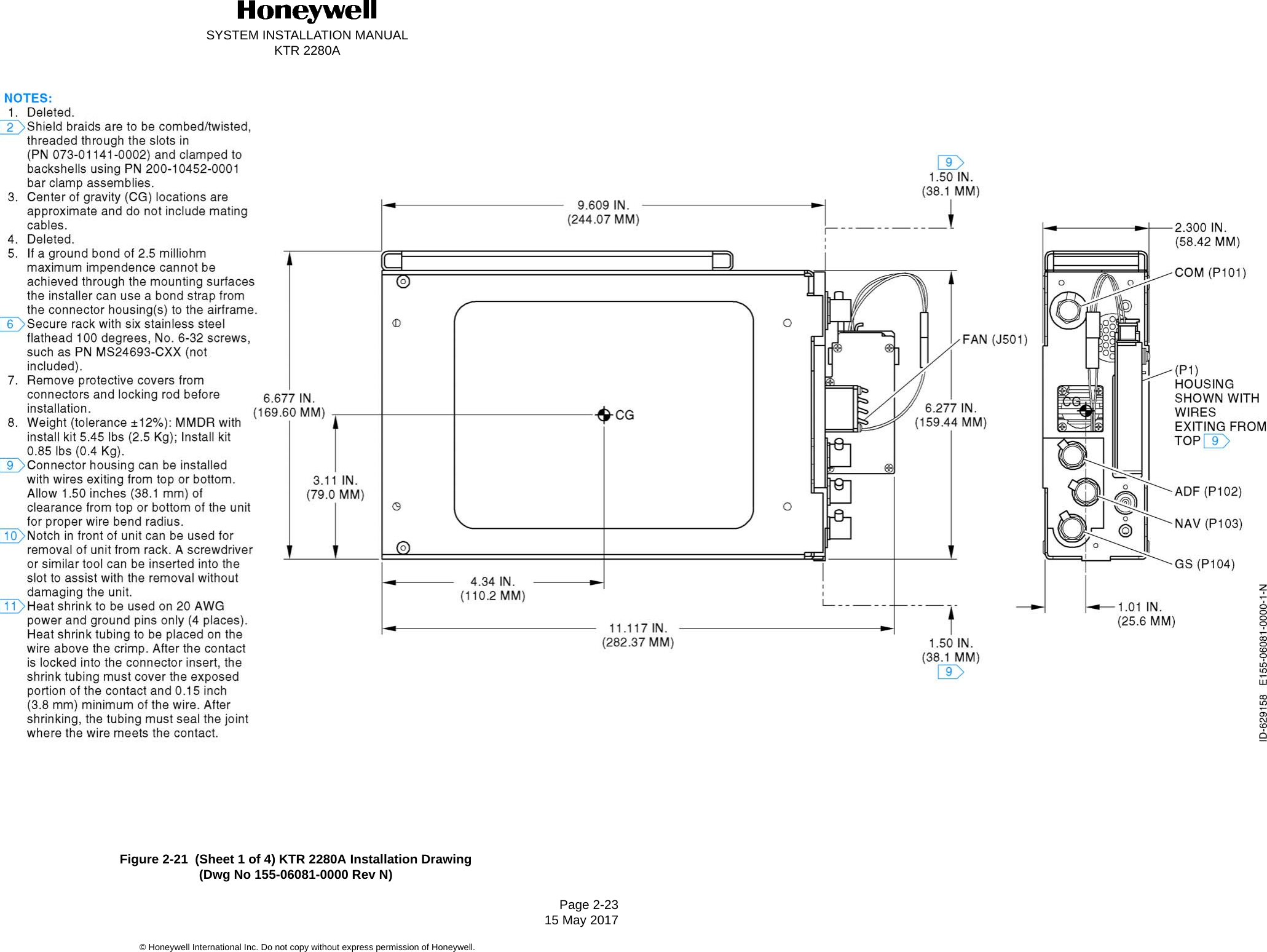 Honeywell Ktr2280a Licensed Non Broadcast Aeronautical Transmitter Data Sheet Drawing Information Housing Diagram Page 2 Wiring System Installation Manualktr 2280apage 23 15 May 2017 International Inc Do