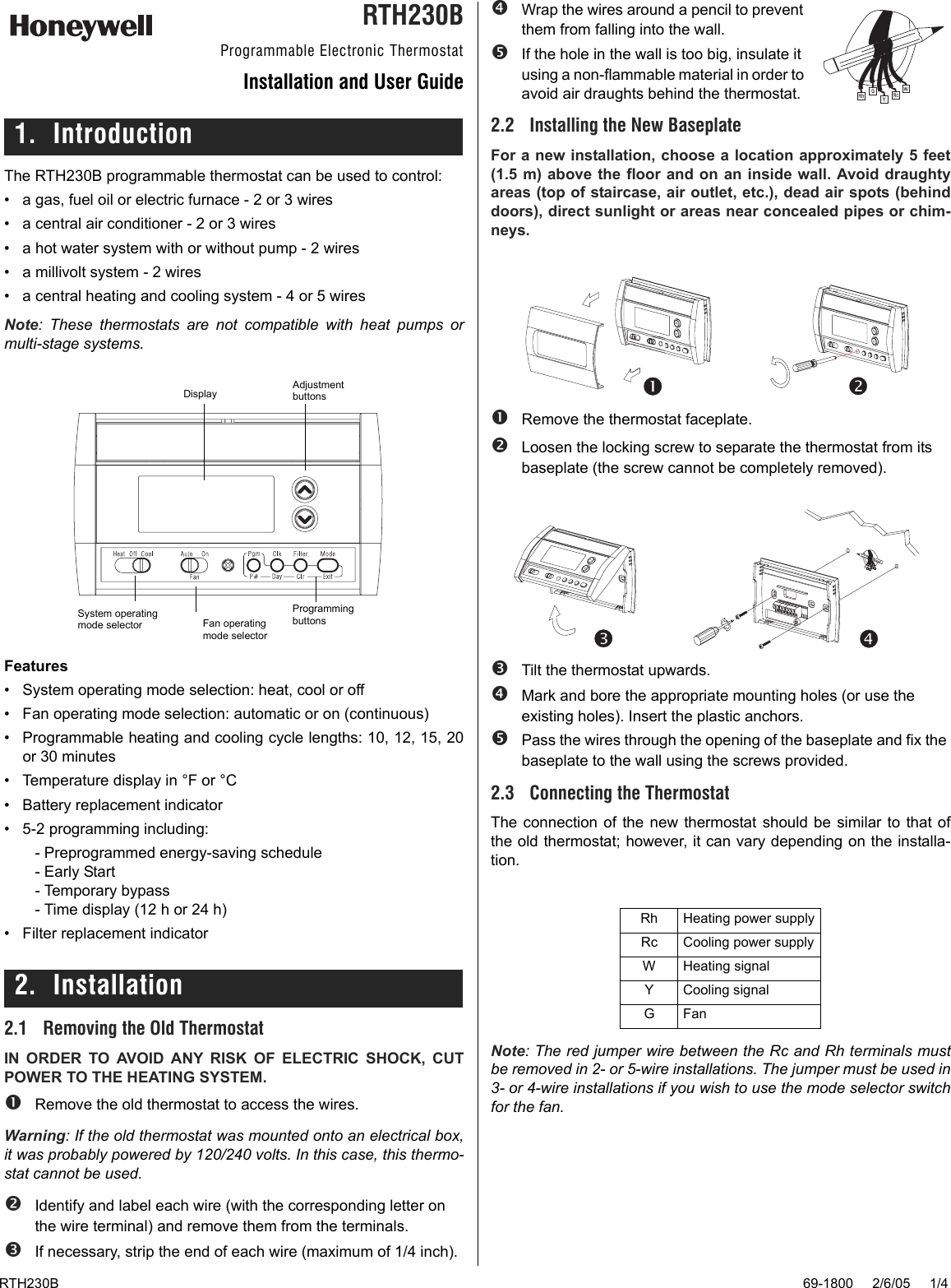Best Honeywell Rth230b Thermostat Owners Manual Image Collection Wiring Diagram 69 1800 Programmable Electronic Installation And User Guide To The 39359643 Dfda