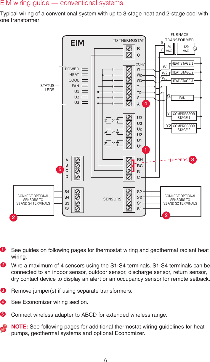 Honeywell Thm5421r02 User Manual Two Stage Heat Pump Thermostat Wiring 6typical Of A Conventional System With Up To 3 And 2