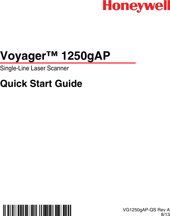 Honeywell VG1250gAP QS Voyager 1250gAP Quick Start Guide User ...