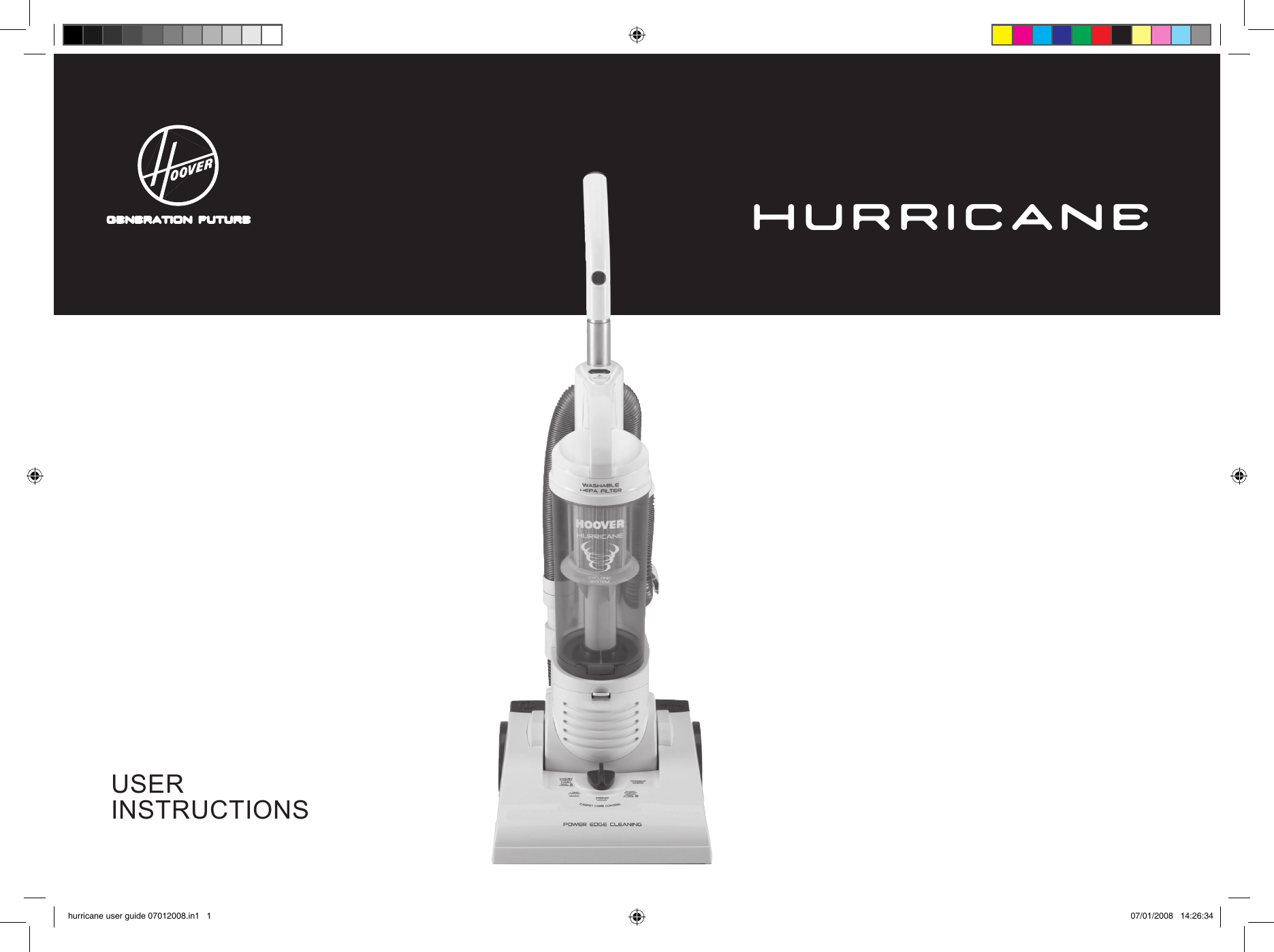 Hoover Hurricane Power Upright Vacuum Cleaner Hp2300 Instruction