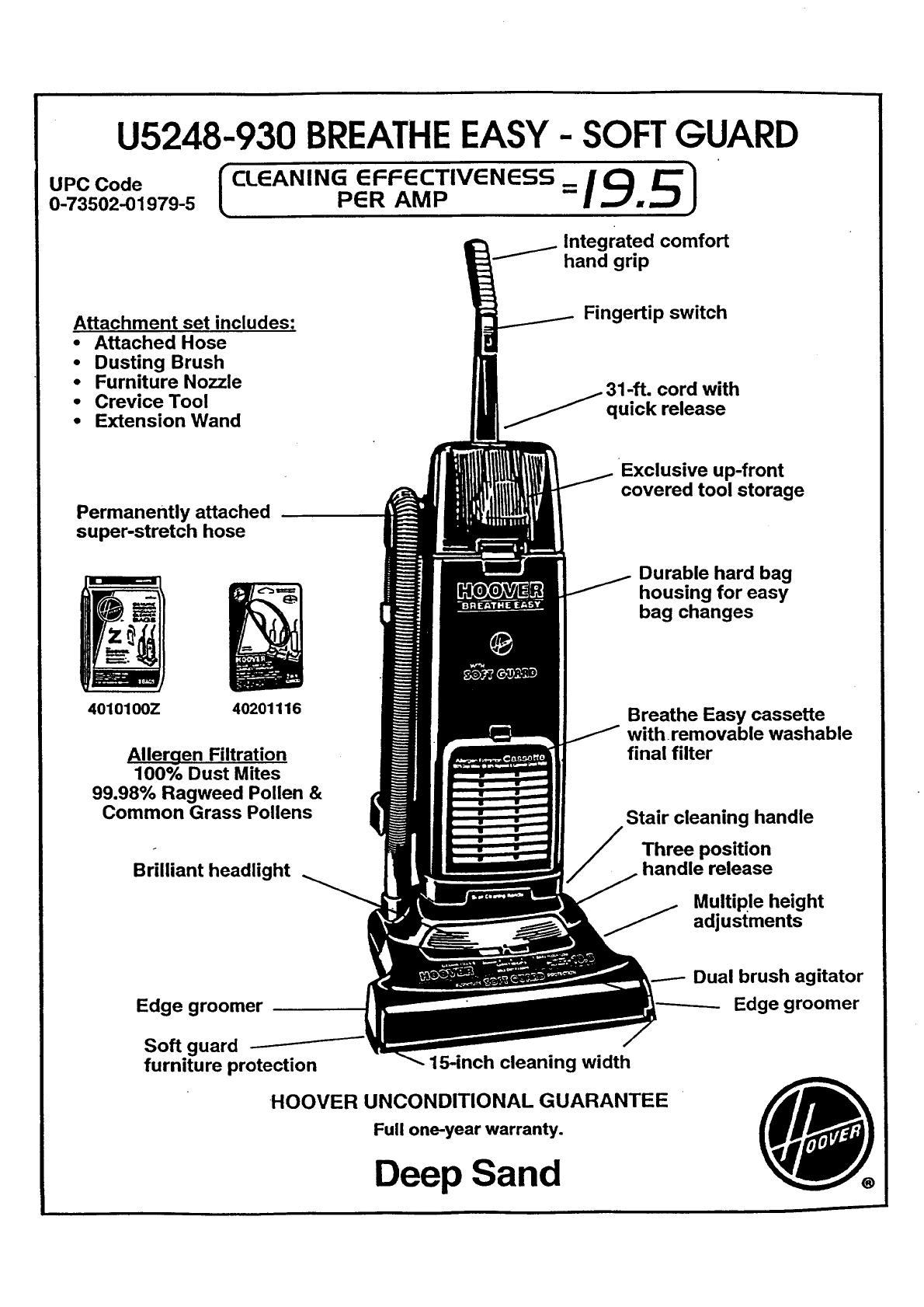 Hoover Deep Sand U5248 930 Users Manual