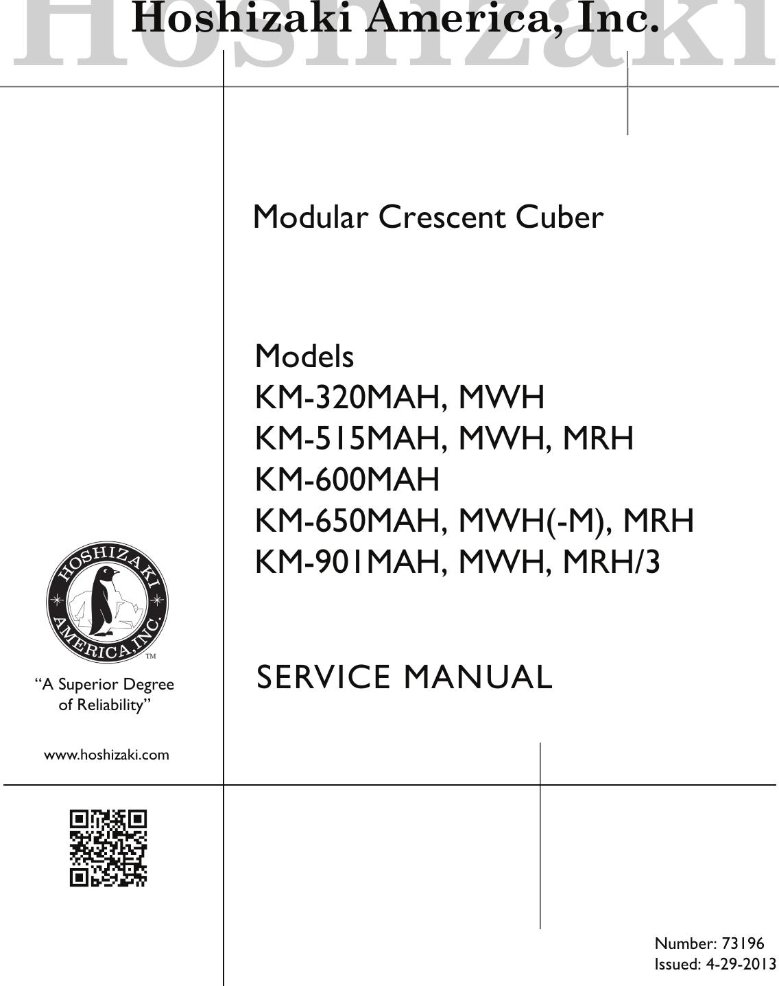 Hoshizaki Modular Crescent Cuber Mrh Km 600mah 650mah Users Manual Wiring Diagrams