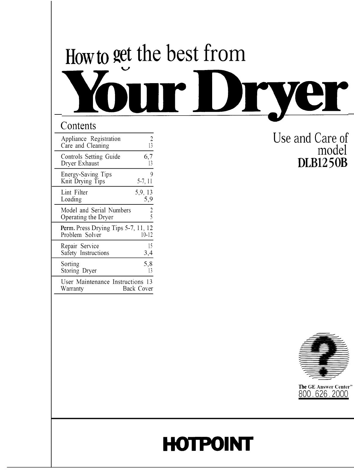 Hotpoint-creda ct33v (crusader) tumble dryer download instruction.