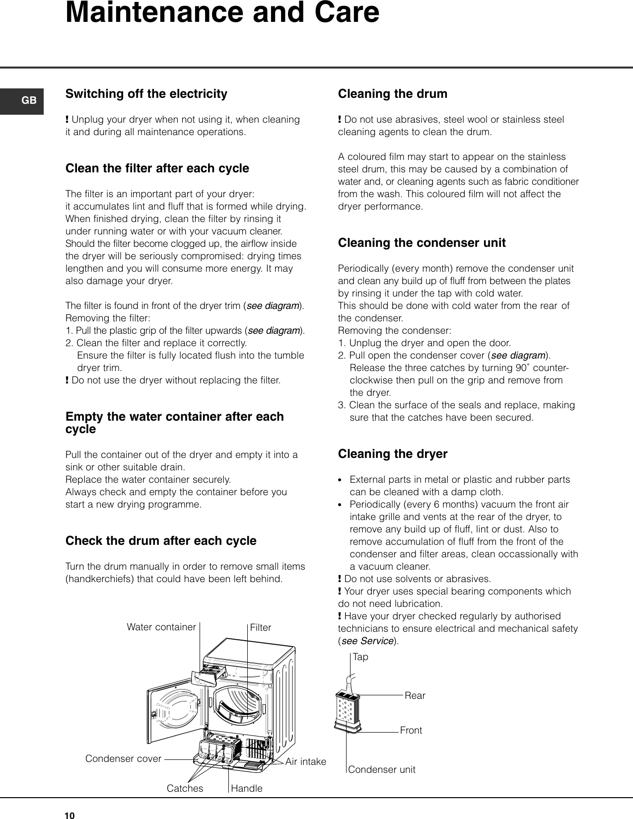 Hotpoint Ctd80 Users Manual