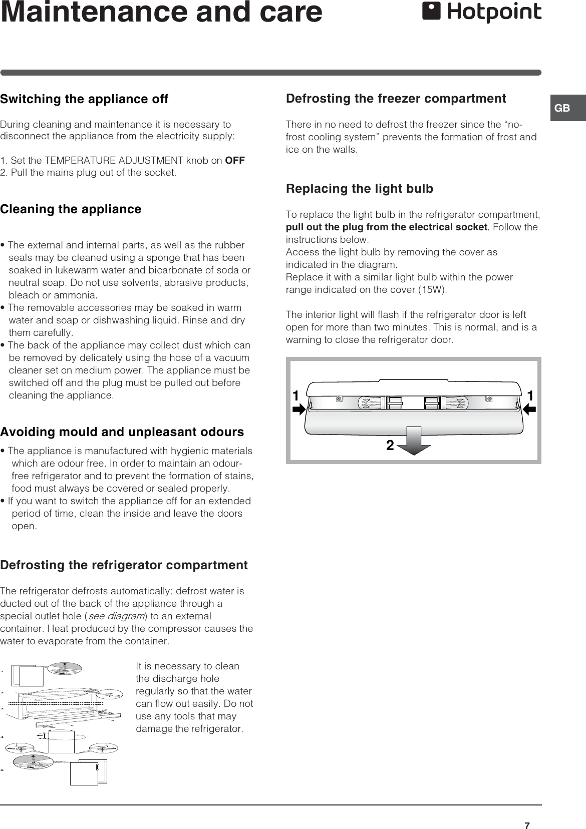 Hotpoint Refrigerator Ffp187Mg Users Manual 44802gb