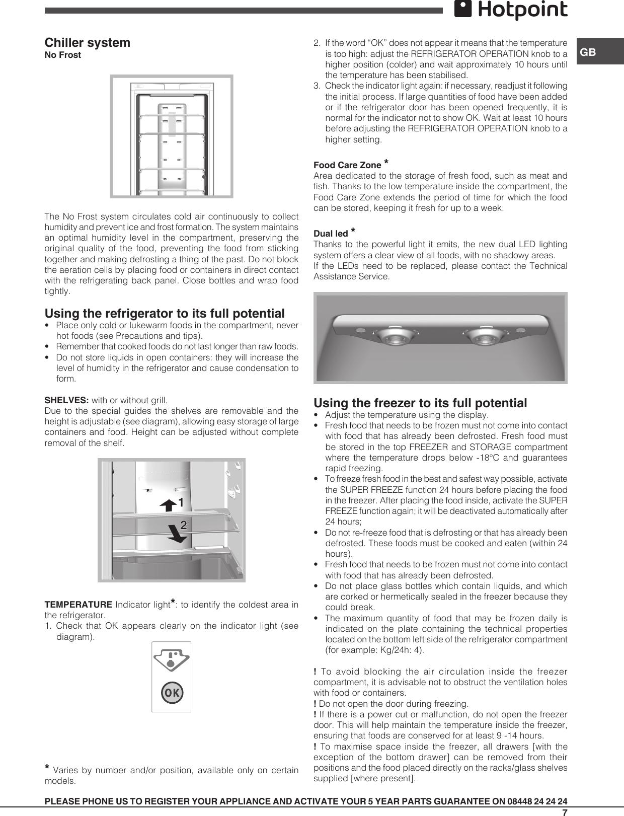 Hotpoint Refrigerator Freezer Combination Ffuq 18Xx X Users Manual