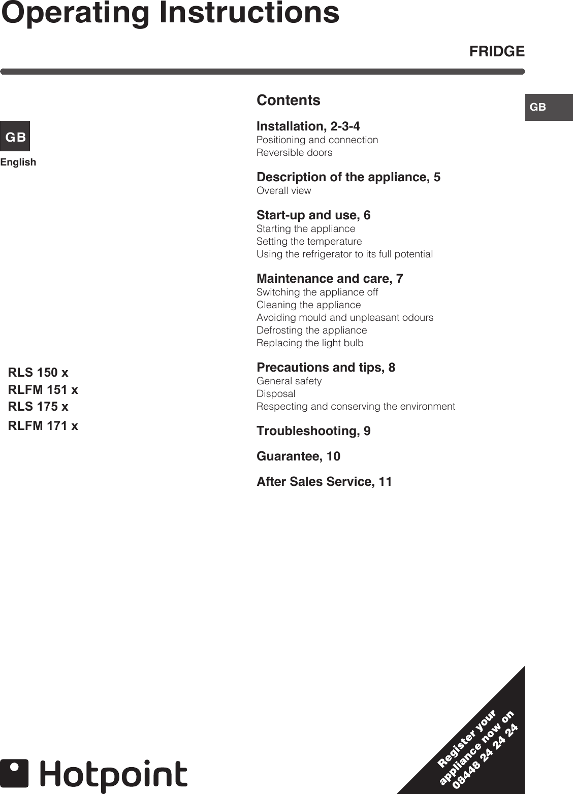 Hotpoint Disposal Wiring Diagram Ice Maker Stove Refrigerator Rls 175 X 150 Rlfm 151 171 Users Manual On