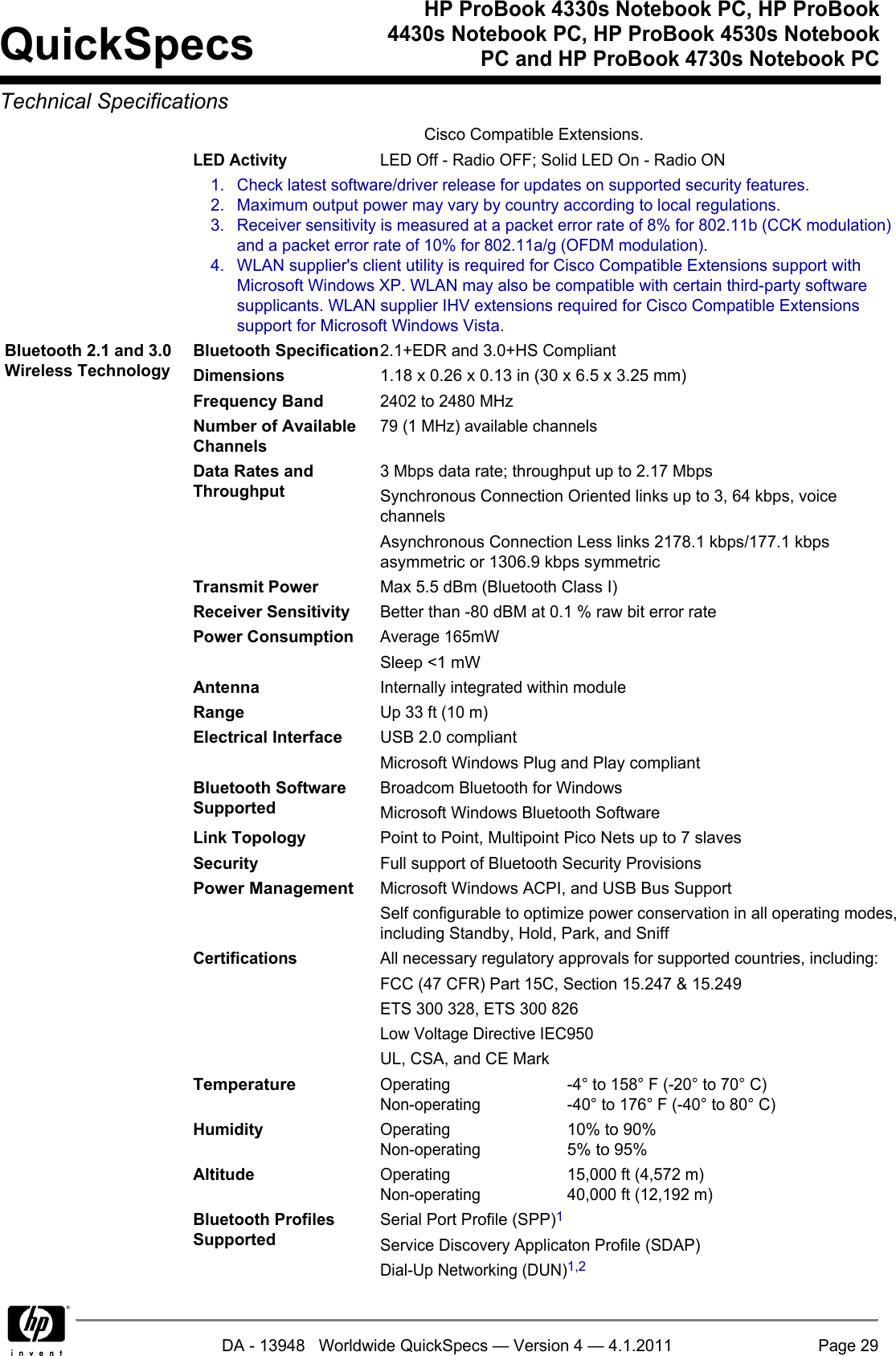 Hp 4330s Specifications