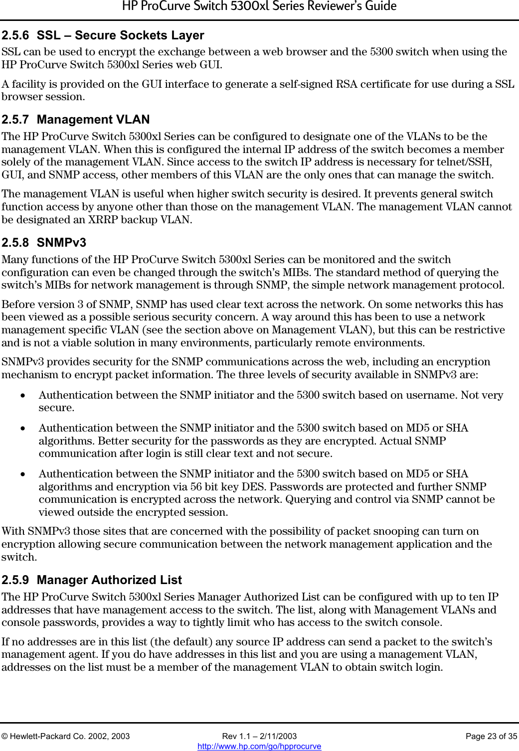 Hp 5300Xl Users Manual Procurve Switch Series Reviewer's Guide