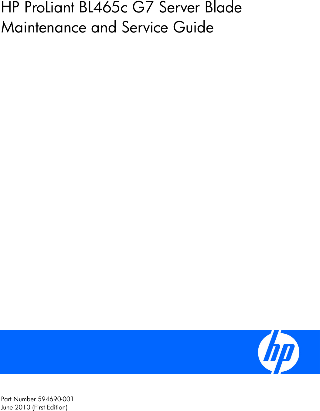 Hp Bl465C G7 Users Manual ProLiant Server Blade Maintenance