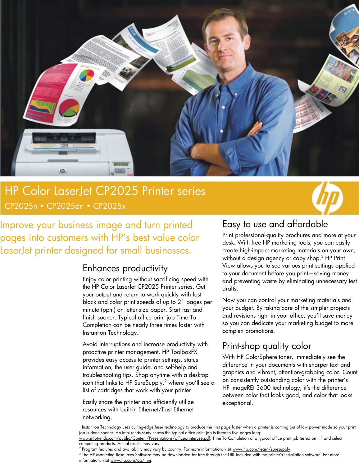 Hp Color Laserjet Cp2025N Users Manual